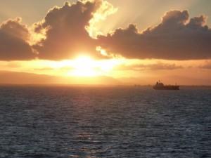 Sonnenuntergang bei Rückfahrt zum Festland