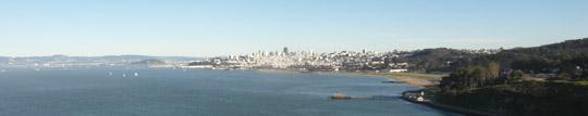 San Francisco von der Golden Gate Bridge gesehen